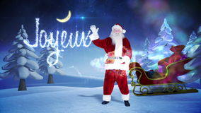 Santa and his sled with magical christmas greeting stock video footage