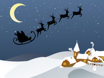 Santa and his sleigh. Illustration of santas sleigh over the town Stock Photography