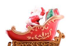 Santa on His Sleigh. On White Stock Image