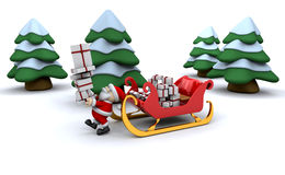 Santa and his sleigh. Santa with a sleigh full of presents Royalty Free Stock Photos