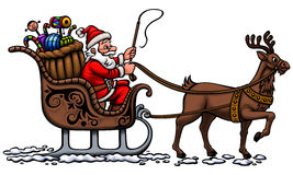 Santa in his sleigh. Santa Claus is going on his sleigh cart to distribute gifts on Christmas Royalty Free Stock Photos