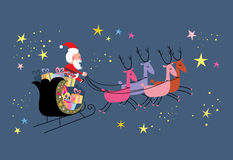 Santa and his sleigh flying Royalty Free Stock Images