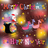 Santa and his sleigh flying Merry Christmas and Happy New Year Greeting card Royalty Free Stock Photos