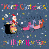 Santa and his sleigh flying Merry Christmas and Happy New Year Greeting card Royalty Free Stock Photo