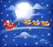 Santa in his sleigh with his reindeer. Illustration of santa claus flying in his sleigh with his reindeer through the clouds Stock Image