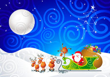 Santa, his sleigh and his reindeer. Cartoon illustration with Santa, his sleigh and his reindeer Royalty Free Stock Photography