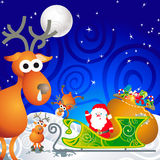 Santa, his sleigh and his reindeer. Cartoon illustration with Santa, his sleigh and his reindeer Stock Photos