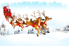 Santa with his sleigh in ice Stock Image