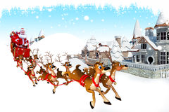 Santa with his sleigh and lots of reindeer Royalty Free Stock Photography