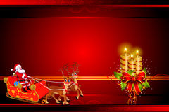 Santa with his sleigh on red background Stock Photography