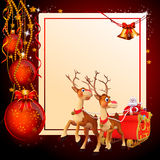 Santa with his sleigh and red balls Stock Images