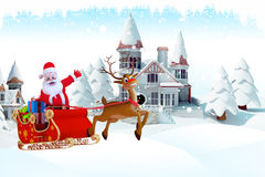 Santa and his sleigh with a reindeer on iceland Royalty Free Stock Images