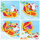 Santa in his sleigh slides down stock illustration