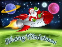 Santa in Space Rocket Merry Christmas Cartoon. Santa in his space rocket sleigh flying over an alien sci fi landscape and waving with a Merry Christmas message vector illustration