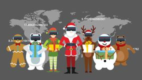 Santa and his team on the world map.