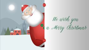 Santa Claus approaches and looks to greet you with his wide smile. stock illustration