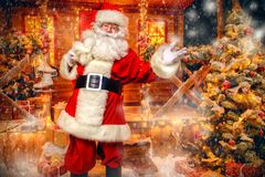 Santa in his yard. Portrait of surprised Santa Claus in the courtyard of his house decorated with Christmas lights. Christmas and New Year concept stock photos