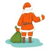 Santa hitchhiking  vector illustration Royalty Free Stock Photography
