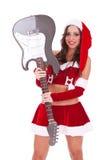 Santa Holding An Electric Guitar Royalty Free Stock Photo