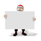 Santa holding big sign. 3d rendering/illustration of a cartoon santa holding a big blank sign Royalty Free Stock Photography