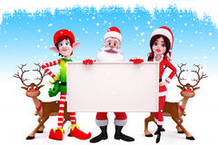 Santa holding a big sign with girl Royalty Free Stock Images