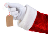 Santa Holding Blank Gift Tag Imágenes de archivo libres de regalías