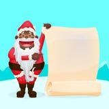 Santa Holding Blank Scroll engraçada Fotografia de Stock
