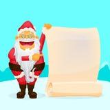 Santa Holding Blank Scroll engraçada Imagens de Stock Royalty Free