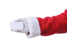Santa Holding Blank White Card Stock Image