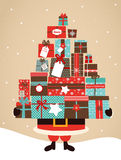 Santa Holding Christmas Gifts. Merry christmas and happy new year royalty free illustration