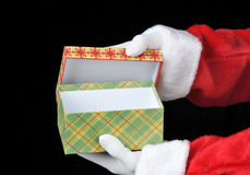 Santa Holding Empty Gift Box in Both Hands Stock Photos