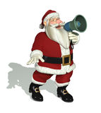 Santa Holding en megafon Royaltyfri Foto