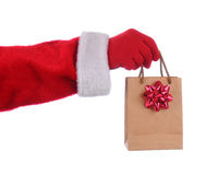 Santa holding gift bag Royalty Free Stock Photo