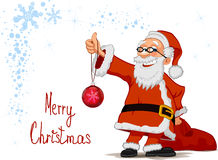 Cheerful Santa holding in hands a Christmas ball a. Smiling Santa Claus cartoon character holding in hands a Christmas ball and bag  on white background Stock Images