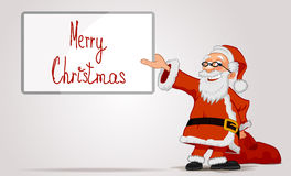 Cheerful Santa holding in hands a frame and bag. Smiling Santa Claus cartoon character holding in hands a frame and bag  on white background Royalty Free Stock Photography