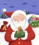 Santa holding a little cat. Illustration of Santa holding a little cat in his hands Stock Image