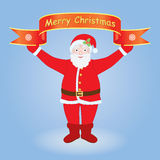 Santa holding Merry Christmas banner Stock Image