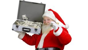 Santa holding money suitcase isolated. Santa Claus, ok gesture. New year resolutions for investors stock footage
