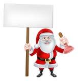 Santa Holding Plunger Sign Fotos de Stock