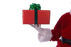 Santa holding present Royalty Free Stock Photography