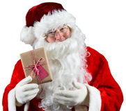 Santa Holding Present Royaltyfria Foton