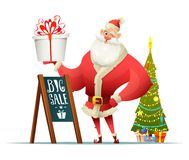 Santa holding a present in his hand. Nearby stand big sale sign and a Christmas tree. Santa Claus character design. Royalty Free Stock Images
