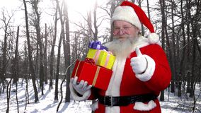 Santa holding presents outdoor. stock video footage