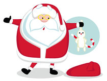 Santa holding a rabbit Stock Images