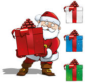 Santa Holding a Red Gift Stock Images