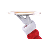 Santa Holding Serving Tray Royalty Free Stock Images