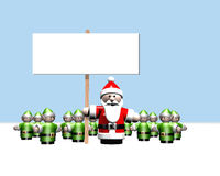 Santa holding a sign surrounded by all his helpers Stock Images