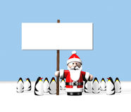 Santa  holding  a  sign  surrounded  by  penguins. A  stylized  illustration  of  Santa  holding  a  sign  surrounded  by  lots  of  penguins  at  the  North Stock Images