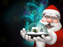 Santa holding a snow globe with  magical lights Royalty Free Stock Photography