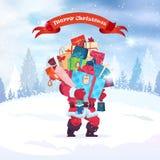 Santa Holding Stack Of Present encajona la decoración del día de fiesta del fondo de la tarjeta de felicitación de la Feliz Navid stock de ilustración